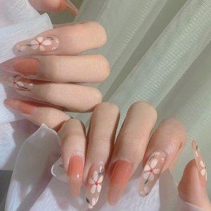 24шт Накладные ногти с цветочным узором & 1 лист лента SHEIN. Цвет: многоцветный