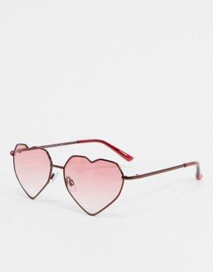 Солнцезащитные очки в виде красных сердец -Красный AJ Morgan
