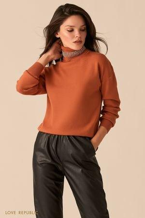 Объемный свитер с акцентным воротником-стойкой медного цвета LOVE REPUBLIC