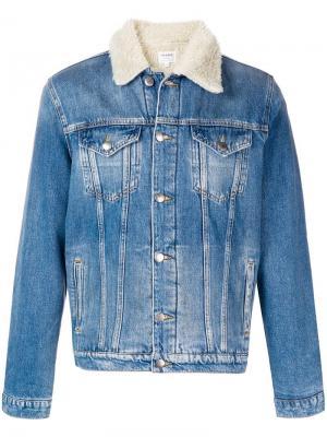 Джинсовая куртка с подкладкой из овечьего меха FRAME. Цвет: синий