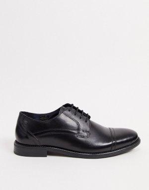 Черные кожаные туфли на шнуровке -Черный Base London