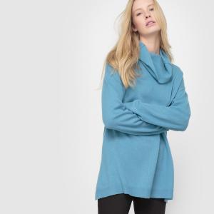 Пуловер из кашемира, воротник-хомут, свободный покрой La Redoute Collections. Цвет: сине-серый
