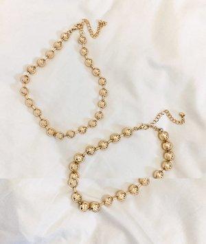Набор из 2 золотистых ожерелий-цепочек со звеньями в форме шариков ASOS DESIGN-Золотой