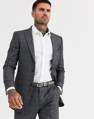 Облегающий пиджак в клетку -Синий Burton Menswear