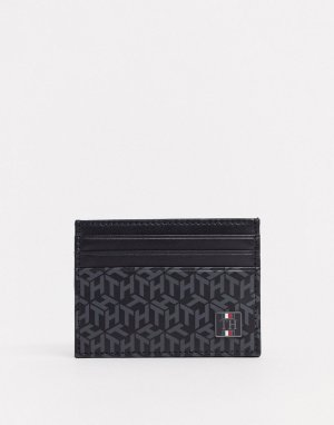 Кредитница из искусственной кожи с монограммным принтом и логотипом -Черный цвет Tommy Hilfiger