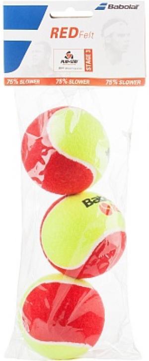 Набор мячей для большого тенниса Red Felt X3 Babolat. Цвет: красный