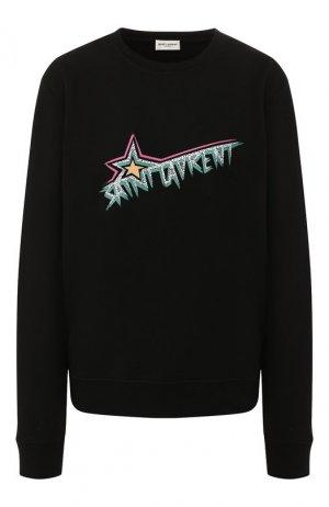 Хлопковый пуловер Saint Laurent. Цвет: черный