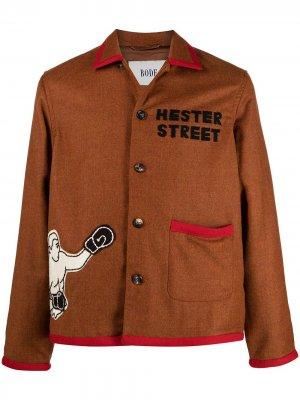 Фетровая куртка-рубашка Boxing BODE. Цвет: красный