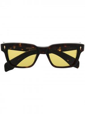 Солнцезащитные очки в квадратной оправе черепаховой расцветки Jacque Marie Mage. Цвет: коричневый
