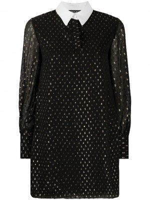 Платье-рубашка с блестками Frankie Morello. Цвет: черный