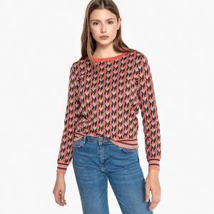 Пуловер жаккардовый, с пуговицами на плечах, PINNA SUNCOO. Цвет: коралловый/рисунок