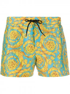 Плавки-шорты с принтом Barocco Versace. Цвет: синий