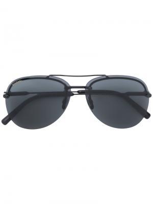 Солнцезащитные очки авиаторы Bulgari. Цвет: чёрный