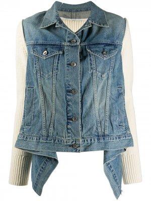 Джинсовая куртка с драпировкой и вставкой Sacai. Цвет: синий