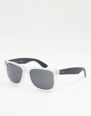 Солнцезащитные очки в прозрачной прямоугольной оправе стиле унисекс Justin 0RB4165-Прозрачный Ray-Ban