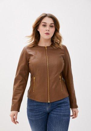 Куртка кожаная Marina Rinaldi Sport. Цвет: коричневый