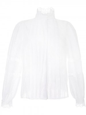 Кружевная рубашка со складками Dice Kayek. Цвет: белый