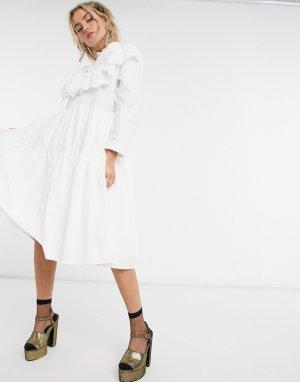 Платье-рубашка миди с ярусной юбкой и вышивкой ришелье на воротнике Sister Jane-Белый jane