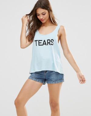 Майка Tears Wildfox. Цвет: синий