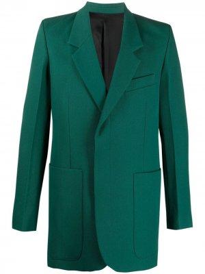 Пиджак с потайной застежкой AMI Paris. Цвет: зеленый