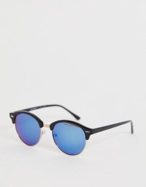 Солнцезащитные очки в стиле ретро с синими стеклами AJ Morgan. Цвет: черный