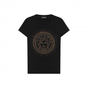 Хлопковая футболка Versace. Цвет: чёрный
