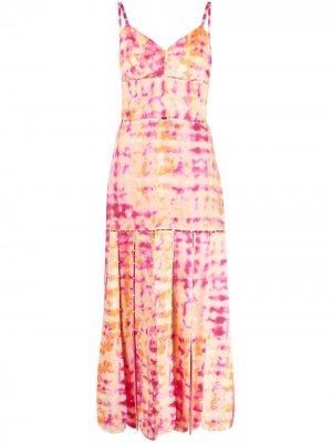 Льняное платье с принтом тай-дай и вставками Alexis. Цвет: розовый
