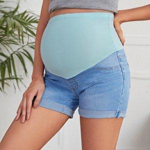 Джинсовые шорты для беременных SHEIN. Цвет: легко-синий