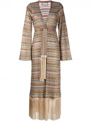 Платье с бахромой и завязками Alexis. Цвет: разноцветный