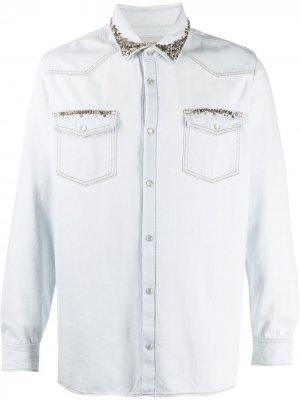 Декорированная рубашка Golden Goose. Цвет: синий
