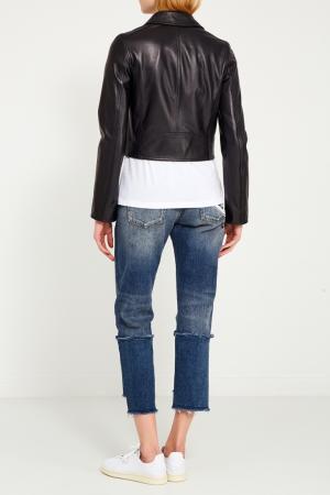Кожаная куртка с золотистой фурнитурой Dolce&Gabbana. Цвет: черный