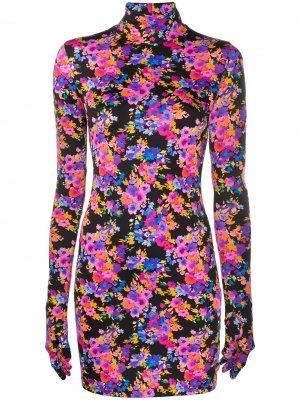 Облегающее платье с перчатками Vetements. Цвет: черный