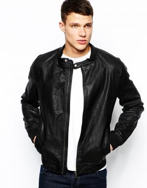 Куртка-пилот из искусственной кожи Jack & Jones. Цвет: черный