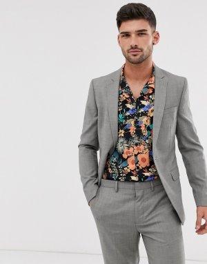 Серый однобортный пиджак зауженного кроя Topman