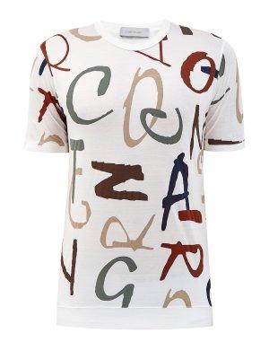 Хлопковая футболка из джерси с контрастным принтом CORTIGIANI. Цвет: белый