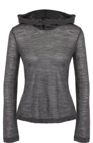 Шерстяной пуловер с капюшоном Yohji Yamamoto. Цвет: серый