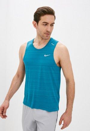 Майка спортивная Nike M NK DF MILER TANK. Цвет: бирюзовый