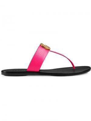 Сандалии с Т-образным ремешком и логотипом GG Gucci. Цвет: розовый