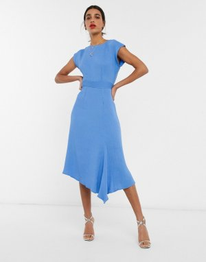 Синее платье миди с рукавами-кимоно и асимметричным краем -Синий Closet London