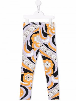 Geometric-print cotton leggings Emilio Pucci Junior. Цвет: черный