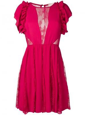 Платье с прозрачными кружевными вставками ANIYE BY. Цвет: розовый
