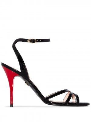 Босоножки на контрастном каблуке Charles Jourdan. Цвет: черный