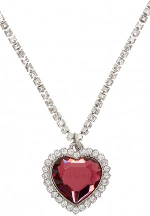 Silver & Pink Crystal Heart Necklace VETEMENTS. Цвет: baby pink