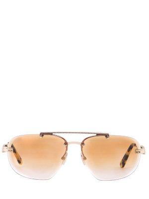Очки солнцезащитные Philipp Plein. Цвет: золотистый
