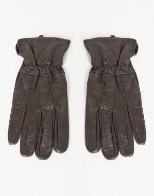 Кожаные перчатки в стиле пэчворк -Коричневый цвет Boardmans