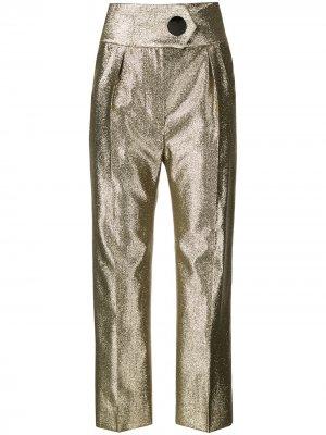 Укороченные брюки с полосками сбоку Petar Petrov. Цвет: золотистый
