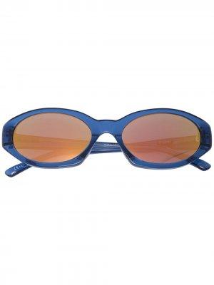 Солнцезащитные очки в овальной оправе Linda Farrow. Цвет: синий