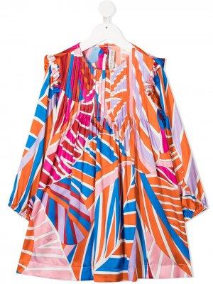 Платье с графичным принтом Emilio Pucci Junior. Цвет: розовый