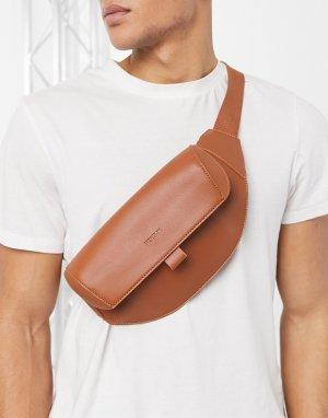 Светло-коричневая сумка-кошелек на пояс -Коричневый цвет Fenton