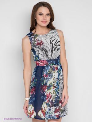Платье DRS Deerose. Цвет: темно-синий, белый, бордовый
